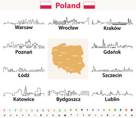 Fototapete - vector outline icons of Poland cities skylines with polish map and flag