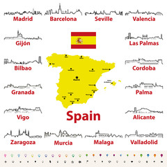 Fototapete - vector outline icons of Spain cities skylines with map and flag of Spain