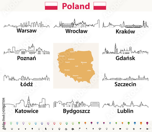vector outline icons of Poland cities skylines with polish map and ...