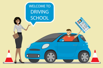 Male with driver license,African american female instructor with speech bubble