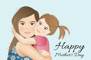 Mothers day card, mum with daughter