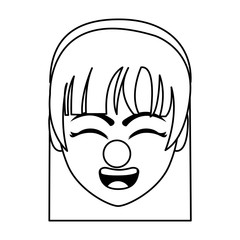 line woman head with hairband and clown nose