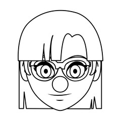 line woman head with glasses and clown nose