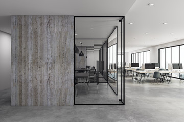 Modern coworking office with copyspace