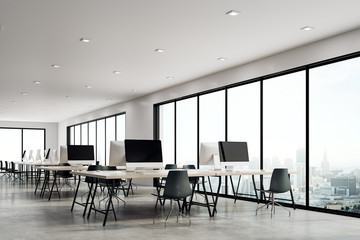 Contemporary coworking office with city view