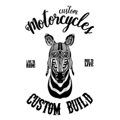 Zebra Horse Biker, motorcycle animal. Hand drawn image for tattoo, emblem, badge, logo, patch, t-shirt