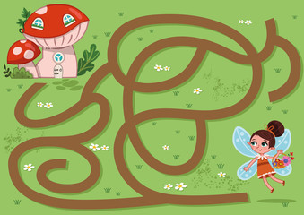 Fairy Maze Game for Children (Vector illustration)