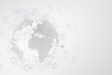Global network connection. globe polygonal mesh and line as business , technology and composition concept. Vector Illustration.