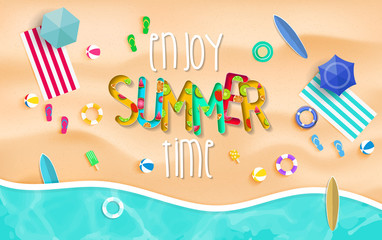 Enjoy summer time background. Top view summer background vector in beach with umbrellas, balls, swim ring, sunglasses, surfboard, hat, sandals, juice, starfish and sea.