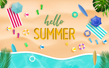 Hello summer background. Top view summer background vector in beach with umbrellas, balls, swim ring, sunglasses, surfboard, hat, sandals, juice, starfish and sea.