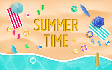 Summer time background. Top view summer background vector in beach with umbrellas, balls, swim ring, sunglasses, surfboard, hat, sandals, juice, starfish and sea.