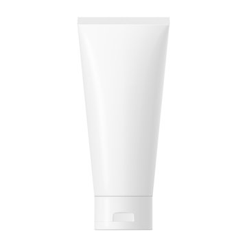 Vector white glossy plastic tube with cap