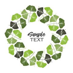 Vector Illustration ginkgo biloba leaves. Background with green leaves. Natural frame