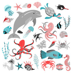 Set of vector illustrations of tropical fish, animal, seaweed and corals.  Sea life. Cute isolated illustrations on white background