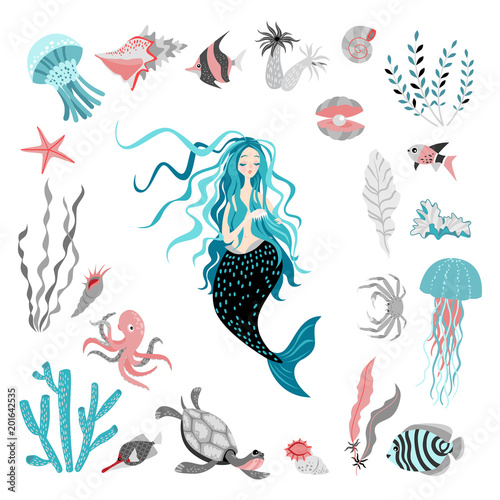 Funny cartoon mermaid surrounded by tropical fish, animal, seaweed ...