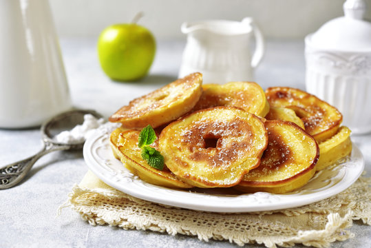 Apple pancakes for a breakfast.