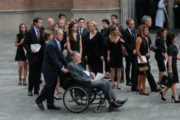 Former U.S. President George H.W. Bush attends the funeral service for his wife former first lady Barbara Bush in Houston