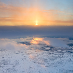 View from above tundra in winter