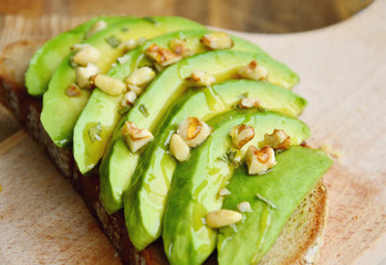 Avocado Toast with walnuts and honey. 