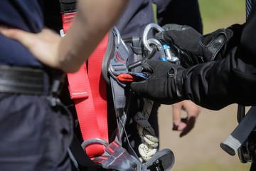 Details of a climbing firefighter equipment