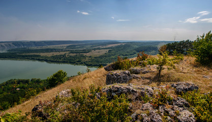 Scenic panorama view from the hill to the reservoir on the Dniester river, Ukraine.
