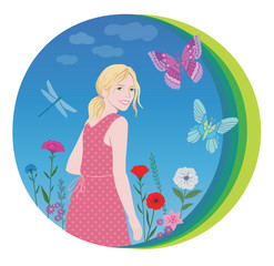 Smiling happy girl with flowers ,butterfly and dragonfly on clouds background
