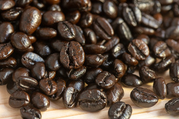 Coffe bean with wood background