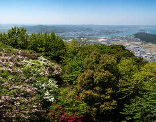 view from the top of mount Kagami, Karatsu city, Japan