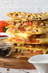 Mexican traditional food: quesadilla with chicken