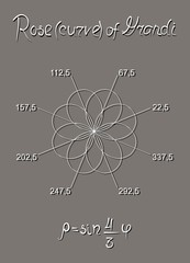 Eight-petalled rose (curve) of Guido Grandi, constructed in the polar coordinate system. The equation. A manual for schoolchildren and students.