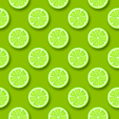 Lime fruit seamless pattern. Sliced pieces citrus, green color background. Vector illustration.