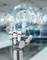 White robot hand using digital screen interface 3D rendering