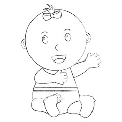 cute little baby girl sitting with diaper vector illustration sketch