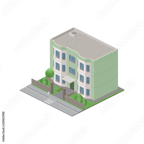 Isometric public residential building isolated on white background