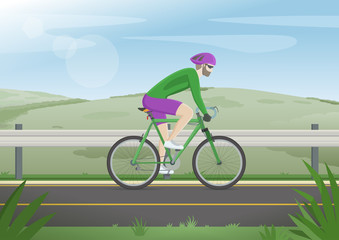 Cyclist in a road outdoors. Beautiful landscape. Man in a green jacket and full sports equipment's. Vector illustration.