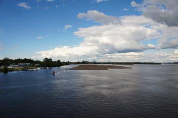 Cityscape of river Northern Dvina in Arkhangelsk, Russia Arkhangelsk, Russia