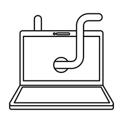 cyber security laptop with worm virus vector illustration outline