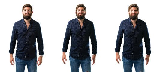 Young man with beard puffing out cheeks, having fun making funny face isolated over white background