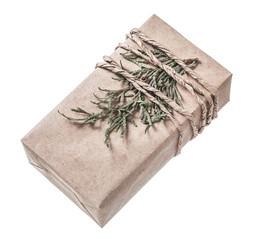 Vintage handmade present box isolated on white