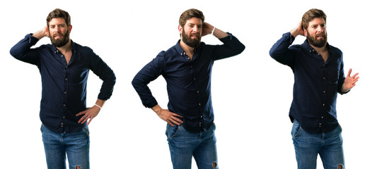 Young man with beard confident and happy with a big natural smile laughing isolated over white background