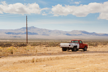 Abandoned old car in the desert of Nevada.