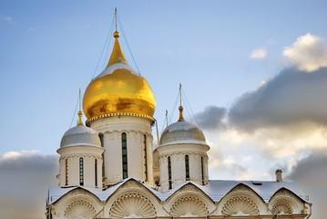 Archangels church. Architecture of Moscow Kremlin. Popular landmark. Color photo.