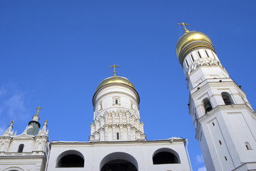 Ivan Great Bell tower. Architecture of Moscow Kremlin. Popular landmark. Color photo.
