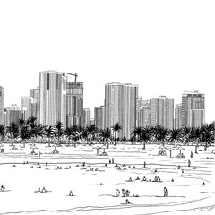 Dubai. United Arab Emirates. Hand drawn city sketch.