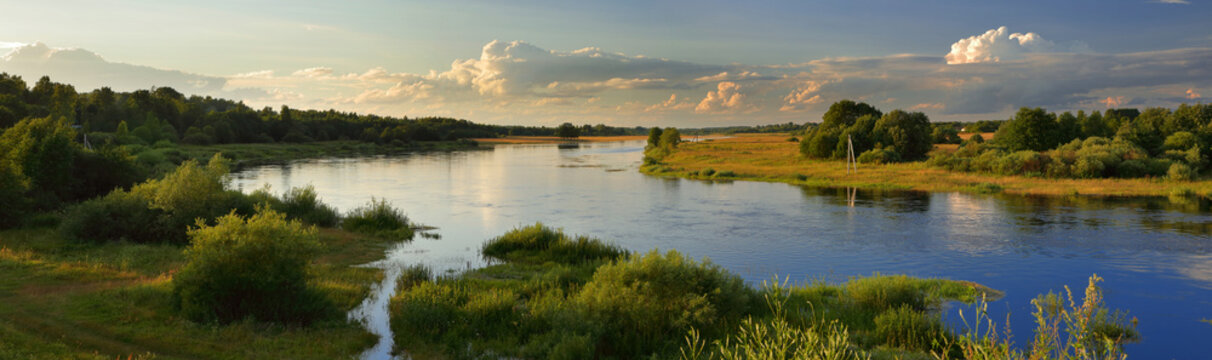Summer wide-angle panorama of the river