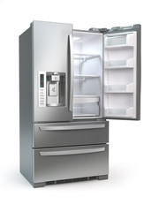 Open fridge freezer. Side by side stainless steel refrigerator  isolated on white background.