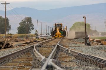 Spoed Fotobehang Spoorlijn railroad track construction