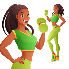 Beautiful sportive African woman exercising with dumbbell. Isolated vector illustration.