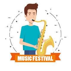 music festival live with man playing saxophone vector illustration design