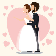 just married couple with hearts avatars characters vector illustration design